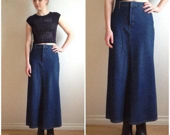 90s Maxi Skirt, Denim Maxi Skirt, TOMMY HILFIGER Ankle Length Jean Skirt, Dark Denim, Long Jean skirt, High Rise Denim Skirt XS Small