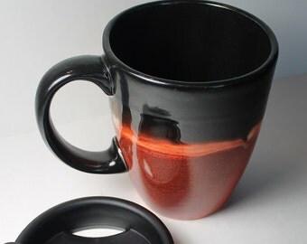 Ceramic lidded coffee mug - Beautiful Harvest mug with lid