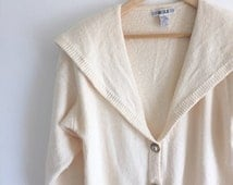 Cream Sailor Collar Cardigan / Off White Button Up Sweater / Cream Jumper with Large Collar / Sailor Pullover Size Large