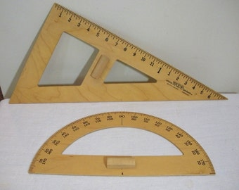Vintage Pair of Giant School Chalkboard Protractor Angle - Adams Wood Products