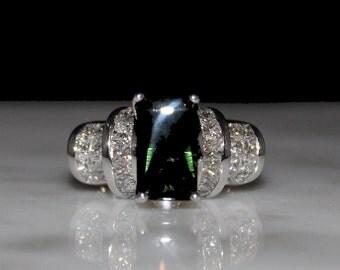 Tourmaline Ring, Bufftop Green Tourmaline, Diamond Engagement Ring, Statement Ring/Appraisal Included