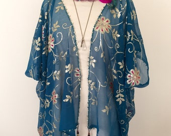 Sequin teal shrug, 1920's vintage teal kimono, flapper shrug, vintage embroidered bolero wrap.