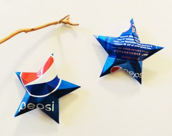 Pepsi Stars, Kansas City Missouri, Golf Course Limited Edition, Bright Blue Christmas Ornaments Soda Can Upcycled Repurposed Pepsi-cola
