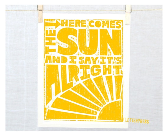 Print, Wall Art, Wall Decor, Kitchen art print, Coworker gift, HERE COMES the SUN, Nursery Decor, Sunshine Wall Art, Kitchen