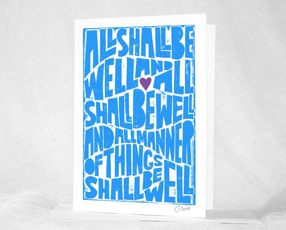 Julian of Norwich, All Shall Be Well, Greeting Card, Note Card, Sympathy Card, Get Well Card, Graduation Card,  Catholic