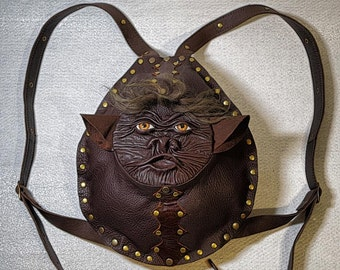 Dark Brown Genuine Leather Backpack Rucksack with 3D face. Handmade leather bag. LARP