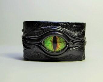 Evil eye, snake eye, dragon eye adjustable black leather bracelet cuff. Cat eye leather bracelet cuff. Halloween cuff. LARP