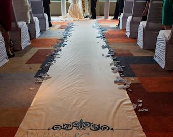 Wedding Aisle Runner White Isle Runner Ceremony Decoration Wedding Decor Monogram Runner