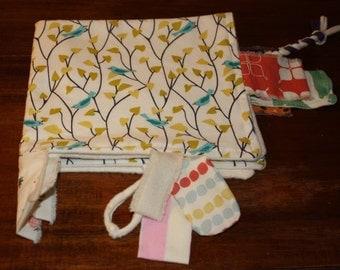 Organic Baby Toy, Cotton sensory, tag, lovey, baby blanket, teething blanket