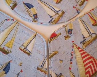 Wedge Sailboat Placemats Reversible Nautical Placemats Sailing Placemats Yacht Placemats Boat Placemats for a round table Fish Placemats