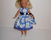 Cute dress for barbies' sister Stacie vintage or modern dolls. Handmade barbie clothes