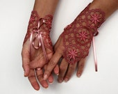 Lace Fingerless Gloves, Guipure Wrist Cuff Charm, Evening Bridal Formal Gloves, Bridesmaids Gift Dusty Rose, Dark Coral, Unusual Wedding