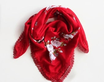 Red Boho Scarf, Printed Soft Scarf, Cheesecloth BandanaTurban Scarf, Muslin, Boho Authentic Scarf, Tatting Lace Trim, OOAK