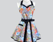 Sweetheart Retro Apron - Womans Orange Floral with Large Pocket Perfect Modern Retro Hostess Apron for Fall Thanksgiving or Hostess Gift