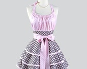 Flirty Chic Womens Aprons - Cotton Candy Pink and Grey Polka Dots and Daisies Retro Vintage Style Pinup Kitchen Apron