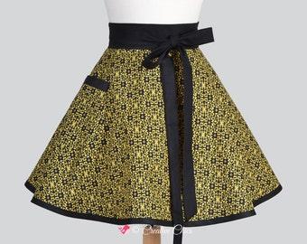Waist Apron . Elegant Half Apron With Black and Gold Damask Gold Stars  Vintage Style Cute Kitchen Apron