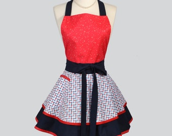 Ruffled Retro Apron . Americana Red White and Blue Plaid Kitchen Apron Ideal to Personalize or Monogram