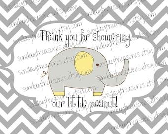 Sets of 6 / Elephant Thank You Favor Bag Gift Sticker Label / Grey Chevron Yellow / Baby Shower Birthday / Boy Girl / 3 Day Ship (ref-ts)