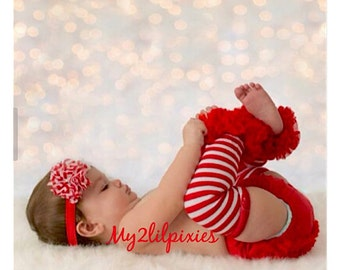 Baby Bloomers, Baby Girl Headband and Leg Warmers ,Christmas Outfit ,Diaper Cover, red white stripe Leg warmers- Baby's first Christmas