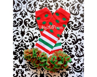 CHRISTMAS LEG WARMERS, baby girl leg warmers, girls leg warmers, chiffon ruffle leg warmers, red and white. Ready to ship