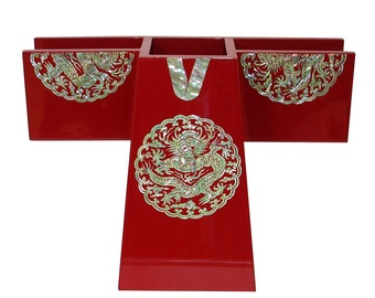 Mother of Pearl Inlay King Robe Dragon Red Wood Multipurpose Office Desk Pen Pencil Brush Cup Case Box Business Card Holder Organizer Caddy