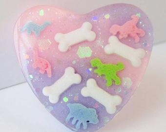 Pink and Lavender Glittery Galaxy  Dinosaur Bones Ring Kawaii Pastel Fairy Kei Lolita