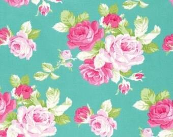Sadie's Dance Card Jade Big Rose PWTW123-JADE Cotton Fabric by Tanya Whelan FreeSpirit