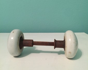 Cream White Antique Vintage Porcelain Door Knob
