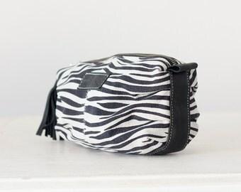 Zebra print leather makeup bag, cosmetic case vanity storage accessory bag toiletry case - Ariadne makeup bag