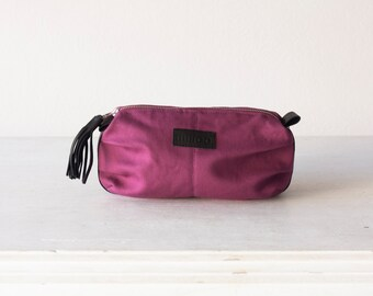Cosmetic bag in raspberry canvas and black leather, makeup case, accessory bag, zipper pouch, utility bag - Ariadne makeup bag