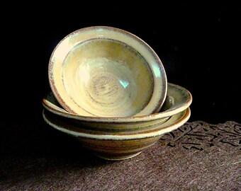 BREAKFAST BOWLS  set of three , Stoneware Bowls, Farmhouse Bowls, Ceramic Bowls, Dessert bowls