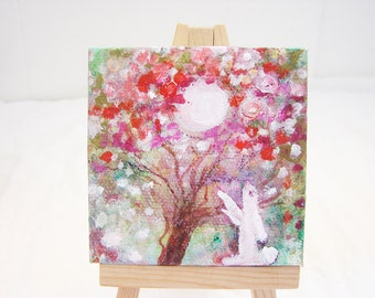 Original Mini Painting on Canvas.. Bunny and the Moon.