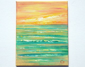Small original beach painting in orange and teal, beach sunset 8x10 diagonal ocean painting