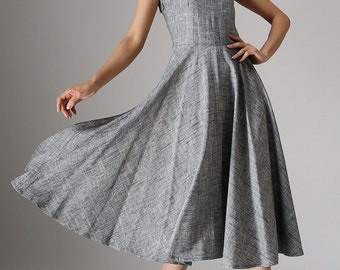 Elegant Gray Linen Dress Spring Sleeveless Dress (988)