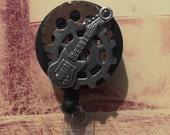 Music Lover Guitar Steampunk ID Retractable Badge Holder