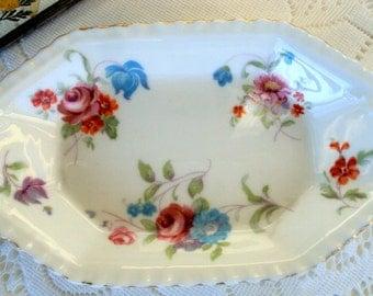 Hammersley & Co English Bone China, Vintage 1930s,Rose Floral Pattern, Ladies Vanity, Home Decor, Ring Trinket Dish, Violets,Dresser Bath