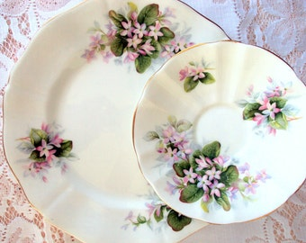 Vintage Royal Adderley Bone China Dishes,England,Mayflower,1950s,Canadian Provences Flower Collection,Dining Serving,Floral Pink Lilac