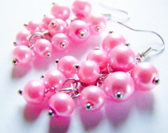 Pink Pearl Earrings - Orchid pink glass pearls - weddings - bridesmaids - special occasions and everyday beach jewelry