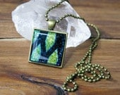 Yellow-Green Chevron with Blue-Black Necklace, Square Glass Necklace, Dichroic Jewelry, Dichroic Pendant, Fused Glass Jewelry