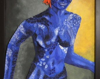 Mystique  Collectible Mixed Media Art Felt Portrait X-Men 27x40