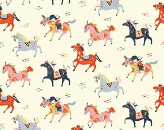 Birch Fabrics - Wild Land Collection - Wild Horses in Cream Organic