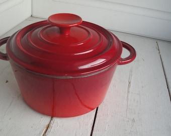 Vintage Enamel Pot Lid Red Orange France