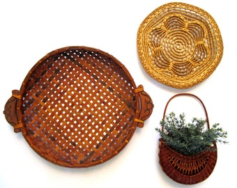Vintage Wicker Wall Basket, Hanging Pocket, Bread Round, Flower, Boho, Woven