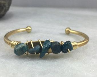 Kyanite Wrapped Cuff | Brass Cuff | B11631