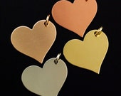 10 Heart Stamping Blanks, Discs - Filed and Polished with Jump Rings - 25mm Jewelry Grade - Bronze, Brass, Copper, Nickel Silver