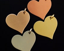 8 Heart Stamping Blanks, Discs - Filed and Polished with Jump Rings - 25mm Jewelry Grade - Bronze, Brass, Copper, Nickel Silver