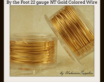 By the Foot 22 gauge Non Tarnish Gold Colored  Wire - 100% Guarantee