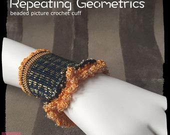 Repeating Geometrics - beaded crochet, crochet cuff, crochet bracelet, lace bracelet