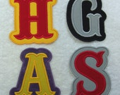3 Inch Double Carnival Letter/Monogram Fabric Embroidered Iron On Applique Patch MADE TO ORDER