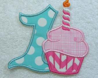 Birthday Number 1 with Cupcake Fabric Embroidered Iron On Applique Patch Ready to Ship